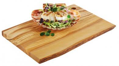 planche de service en bois d'olivier 25 x 17 x 1,5 cm